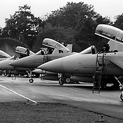SOESTERBERG THE NETHERLANDS FILEPHOTO  American F-15's are lined up to leave Soesterberg Airforce base in the Netherlands due cutbacks from the White House and Bill Clinton.  ©Photo by Edwin Janssen<br /> army, expensive, gun, weapon, congress, air, war, aircrafts