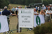 Beware of snakes warning during The Senior Open Championship at Sunningdale Golf Club, Sunningdale, United Kingdom on 23 July 2015. Photo by Ellie  Hoad.