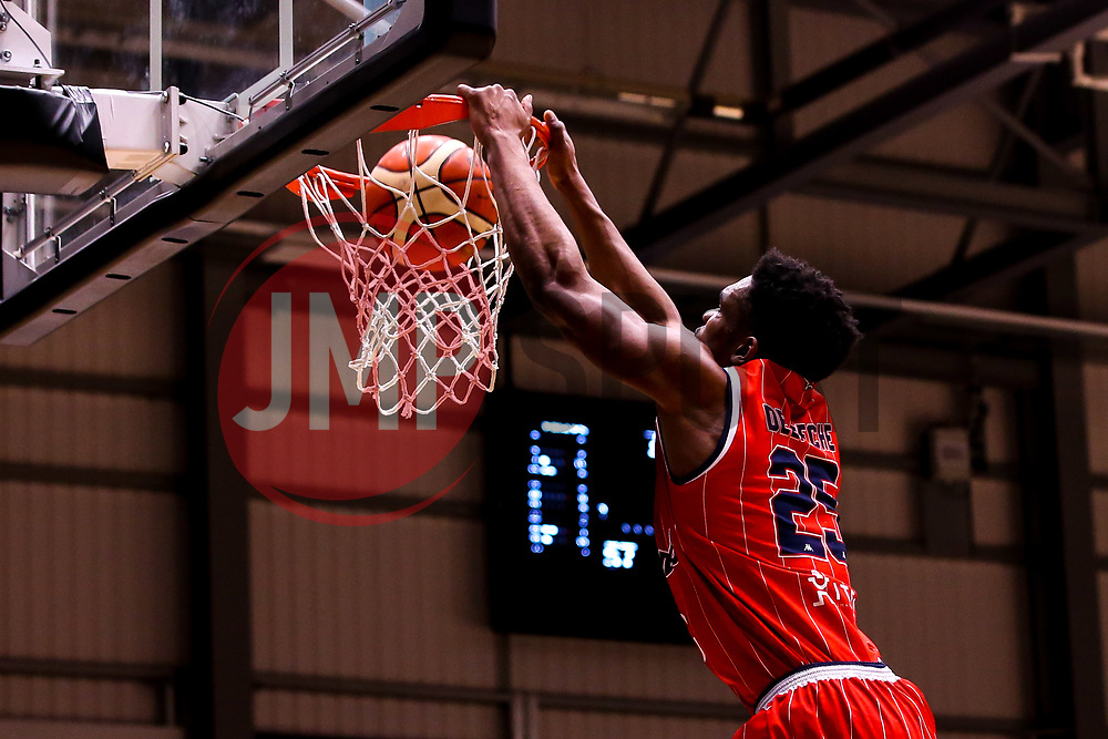 Marcus Delpeche of Bristol Flyers slam dunks - Photo mandatory by-line: Robbie Stephenson/JMP - 01/03/2019 - BASKETBALL - Eagles Community Arena - Newcastle upon Tyne, England - Newcastle Eagles v Bristol Flyers - British Basketball League Championship