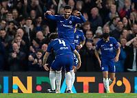 Football - 2018 / 2019 Europa League - Group L: Chelsea vs. FC BATE Borisov<br /> <br /> Cesc Fabregas (Chelsea FC)  rushes to congratulate hat trick hero Ruben Loftus Cheek (Chelsea FC) at Stamford Bridge.<br /> <br /> COLORSPORT/DANIEL BEARHAM