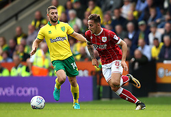 Josh Brownhill of Bristol City goes past Wesley Hoolahan of Norwich City - Mandatory by-line: Robbie Stephenson/JMP - 23/09/2017 - FOOTBALL - Carrow Road - Norwich, England - Norwich City v Bristol City - Sky Bet Championship