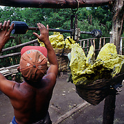 A miner with weighs his heavy load of yellow elemental sulphur that can come up to eighty kilos. Volcano Kawa Ijen. Eastern Java, Indonesia