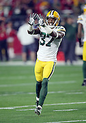 Green Bay Packers cornerback Sam Shields (37) holds up his hands as he celebrates after a play during the NFL NFC Divisional round playoff football game against the Arizona Cardinals on Saturday, Jan. 16, 2016 in Glendale, Ariz. The Cardinals won the game in overtime 26-20. (©Paul Anthony Spinelli)