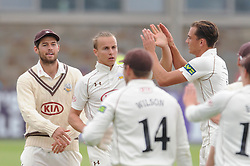 Tom Curran of Surrey celebrates with team mates after bowling our  - Mandatory byline: Dougie Allward/JMP - 07966386802 - 21/08/2015 - Cricket - County Ground -Bristol,England - Gloucestershire CCC v Surrey CCC - LV= COUNTY CHAMPIONSHIP
