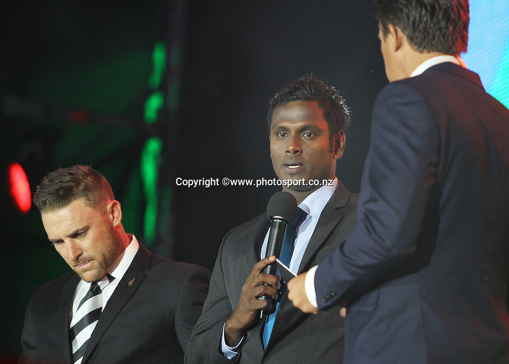 Angelo Mathews Sri Lankan captain and Brendon McCullum Black Caps captain taking part in the performance on stage during the ICC Cricket World Cup Opening Ceremony venue staged in Hagley Park, Christchurch. 12 February 2015 Photo: Joseph Johnson / www.photosport.co.nz