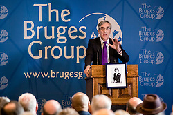 """© Licensed to London News Pictures. 11/03/2019. London, UK. Sir John Redwood MP speaks at a meeting of The Bruges Group about ideas for a """"Budget for Brexit"""". MPs will get a second """"meaningful vote"""" on Prime Minister Theresa May's proposed Brexit deal tomorrow. Photo credit: Rob Pinney/LNP"""