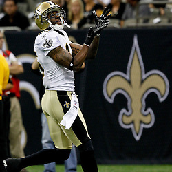 August 12, 2011; New Orleans, LA, USA;  New Orleans Saints wide receiver Courtney Roby (15) prior to kickoff of a preseason game against the San Francisco 49ersat the Louisiana Superdome. Mandatory Credit: Derick E. Hingle