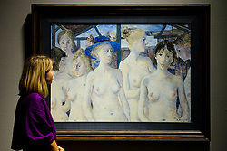 © Licensed to London News Pictures. 25/02/2019. London, UK. A woman views Les mysterieuses by Paul Delvaux (1897-1994). Painted in December 1981 Estimate £120,000-180,000<br /> Bonhams Impressionist and Modern Art Sale will take place in London on 28 February 2019. Photo credit: Dinendra Haria/LNP