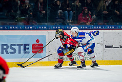 22.12.2017, Ice Rink, Znojmo, CZE, EBEL, HC Orli Znojmo vs EC VSV, 31. Runde, im Bild v.l. Colton Jaret Yellow Horn (HC Orli Znojmo) Felix Maxa (EC VSV) // during the Erste Bank Icehockey League 31th round match between HC Orli Znojmo and EC VSV at the Ice Rink in Znojmo, Czech Republic on 2017/12/22. EXPA Pictures © 2017, PhotoCredit: EXPA/ Rostislav Pfeffer