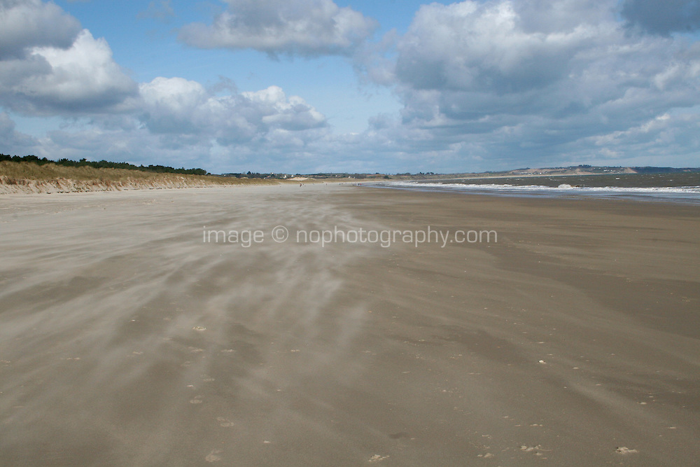 Wind sweeping up the sand at Curracloe Beach in Wexford Ireland where the opening scenes of Spielberg's film Saving Private Ryan was filmed