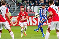 UTRECHT - FC Utrecht - SC Heerenveen , Voetbal , Eredivisie , Seizoen 2016/2017 , Stadion Galgenwaard , 05-02-2017 ,   schot van SC Heerenveen speler Reza Ghoochannejhad (2e r) maar FC Utrecht speler Andreas Ludwig (2e l) lacht al omdat hij naast gaat