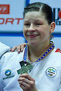 Warsaw, Poland - 2017 April 21: Tina Trstenjak from Slovenia poses with gold medal while awarding ceremony  in the women&rsquo;s 63kg final during European Judo Championships 2017 at Torwar Hall on April 21, 2017 in Warsaw, Poland.<br /> <br /> Mandatory credit:<br /> Photo by &copy; Adam Nurkiewicz / Mediasport<br /> <br /> Adam Nurkiewicz declares that he has no rights to the image of people at the photographs of his authorship.<br /> <br /> Picture also available in RAW (NEF) or TIFF format on special request.<br /> <br /> Any editorial, commercial or promotional use requires written permission from the author of image.