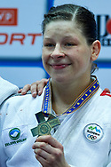 Warsaw, Poland - 2017 April 21: Tina Trstenjak from Slovenia poses with gold medal while awarding ceremony  in the women's 63kg final during European Judo Championships 2017 at Torwar Hall on April 21, 2017 in Warsaw, Poland.<br /> <br /> Mandatory credit:<br /> Photo by © Adam Nurkiewicz / Mediasport<br /> <br /> Adam Nurkiewicz declares that he has no rights to the image of people at the photographs of his authorship.<br /> <br /> Picture also available in RAW (NEF) or TIFF format on special request.<br /> <br /> Any editorial, commercial or promotional use requires written permission from the author of image.