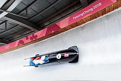 25.02.2018, Olympic Sliding Centre, Pyeongchang, KOR, PyeongChang 2018, 4er Bob, Herren, 3. Lauf, im Bild Dominik Dvorak, Jaroslav Kopriva, Jan Sindelar, Jakub Nosek (CZE) // Dominik Dvorak Jaroslav Kopriva Jan Sindelar Jakub Nosek (CZE) during the men's 4-man bob heat 3 for the Pyeongchang 2018 Winter Olympic Games at the Olympic Sliding Centre in Pyeongchang, South Korea on 2018/02/25. EXPA Pictures © 2018, PhotoCredit: EXPA/ Johann Groder
