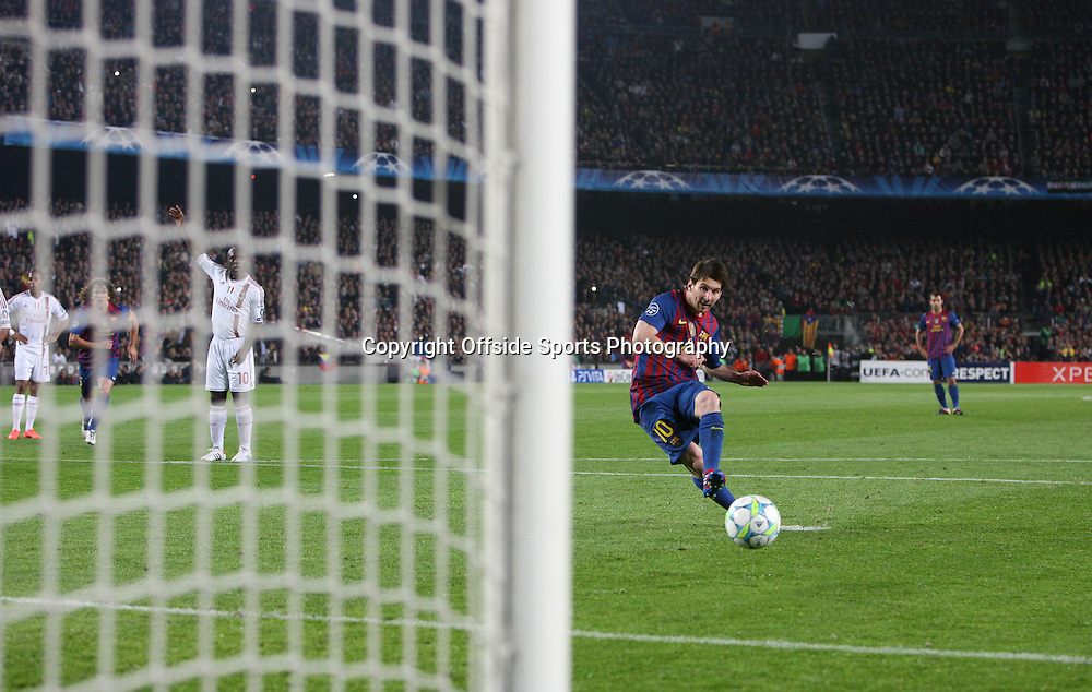 03/04/2012 - UEFA Champions League - Quarter Final (2nd Leg) - FC Barcelona vs. AC Milan - Lionel Messi of Barcelona scores their 1st goal with a penalty - Photo: Simon Stacpoole / Offside.