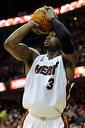 Feb 4, 2010; Cleveland, OH, USA; Miami Heat guard Dwyane Wade (3) shoots a jump shot during the second quarter against the Cleveland Cavaliers at Quicken Loans Arena. Mandatory Credit: Jason Miller-US PRESSWIRE