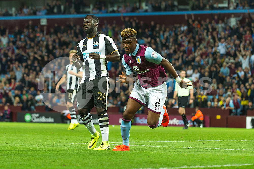 Aaron Tshibola of Aston Villa celebrates scoring during the EFL Sky Bet Championship match between Aston Villa and Newcastle United at Villa Park, Birmingham, England on 24 September 2016. Photo by Darren Musgrove.