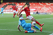 Max Sheaf and Harry Pickering   during the EFL Sky Bet League 2 match between Crewe Alexandra and Cheltenham Town at Alexandra Stadium, Crewe, England on 18 January 2020.