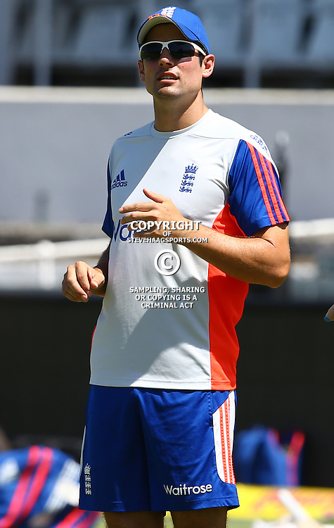 Durban South Africa - December 24, Alastair Cook (capt) of England during the England training session at Sahara Stadium Kingsmead, 24 December 2015. (Photo by Steve Haag) images for social media must have consent from Steve Haag