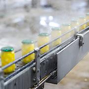 Nederland Giessen 26 augustus 2009 20090826 ..Serie over levensmiddelensector                                                                                      .HAK fabriek, potjes met zilveruitjes worden onder hoge druk en hitte voorzien van deksels en verder getransporteerd over de lopende band. .Silver outings bottled and transported..Foto: David Rozing