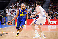 Real Madrid's Rudy Fernandez and Maccabi Fox's Devin Smith during Turkish Airlines Euroleague match between Real Madrid and Maccabi at Wizink Center in Madrid, Spain. January 13, 2017. (ALTERPHOTOS/BorjaB.Hojas)