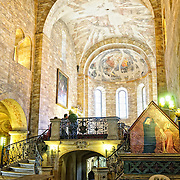 Basilica of St George in Prague Castle with the entrance to the crypt. This is the oldest building in the Prague Castle complex.