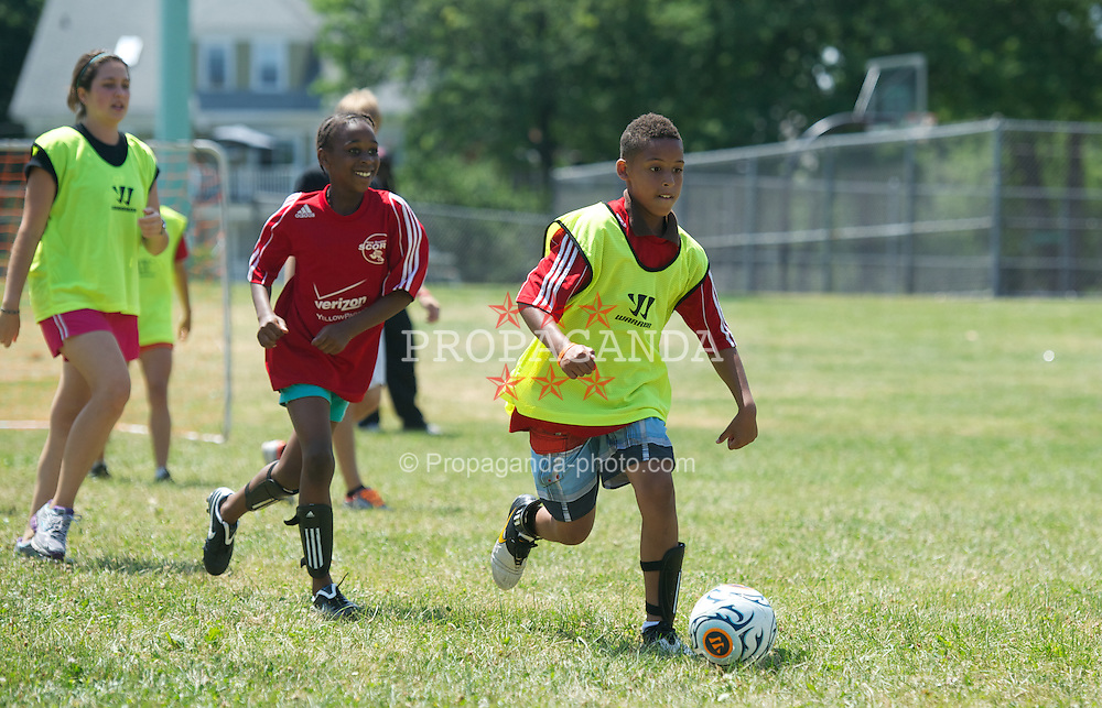 BOSTON, MA - Monday, July 16, 2012: Children during a soccer clinic to Dorchester Summer Camp children during the club's North American pre-season tour. (Pic by David Rawcliffe/Propaganda)