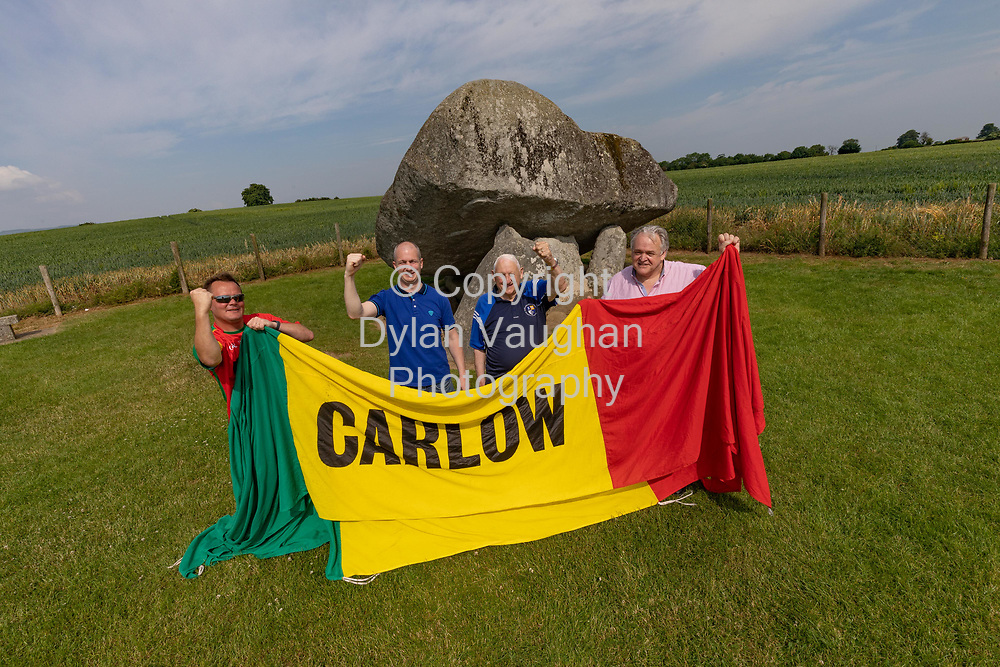 7-6-18<br /> From left Keith Gavin, club secretary; Mark Carpenter, ex player; Brendan Hayden, ex player and John Brophy Club Chairman pictured at the Brownshill Dolmen in Carlow ahead of this weekends match.<br /> Picture Dylan Vaughan