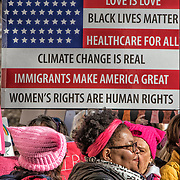 American Flag Sign at the Second Women's March.<br />
