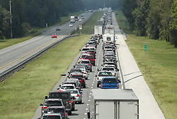 Traffic rolls at a crawl on the northbound lanes of Florida's Turnpike near the intersection of I-75 in Wildwood on Friday, September 8, 2017. Motorists are evacuating for the anticipated arrival of Hurricane Irma.  (Stephen M. Dowell/Orlando Sentinel/TNS/Sipa USA)