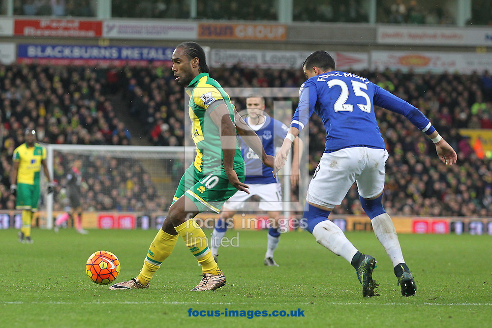 Cameron Jerome of Norwich and Ramiro Funes Mori of Everton in action during the Barclays Premier League match at Carrow Road, Norwich<br /> Picture by Paul Chesterton/Focus Images Ltd +44 7904 640267<br /> 12/12/2015