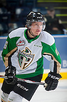 KELOWNA, CANADA - DECEMBER 6: Tim Vanstone #16 of Prince Albert Raiders skates during warm up against the Kelowna Rockets on December 6, 2014 at Prospera Place in Kelowna, British Columbia, Canada.  (Photo by Marissa Baecker/Shoot the Breeze)  *** Local Caption *** Tim Vanstone;