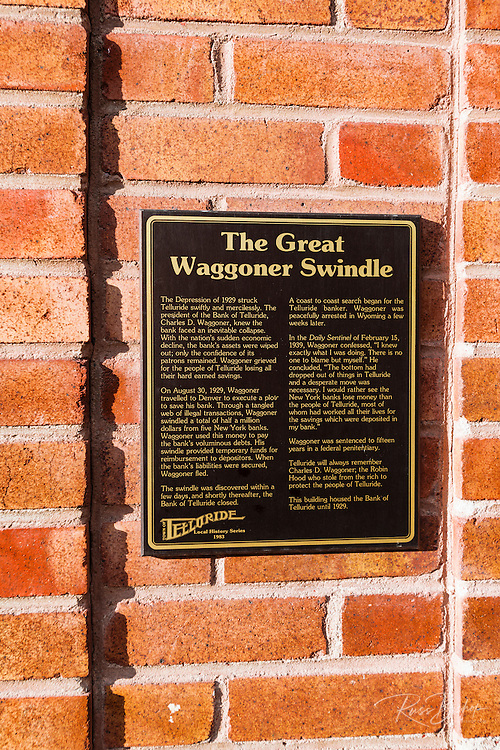 The Great Waggoner Swindle historic plaque, downtown Telluride, Colorado USA
