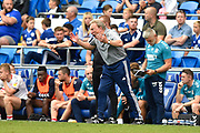 Cardiff City manager Neil Warnock urges his team to attack during the EFL Sky Bet Championship match between Cardiff City and Middlesbrough at the Cardiff City Stadium, Cardiff, Wales on 21 September 2019.
