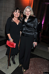 Left to right, LORAINNE KELLY and the Home Secretary THERESA MAY MP at the 50th birthday party for Jonathan Shalit held at the V&A Museum, London on 17th April 2012.
