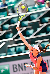 PARIS, May 30, 2017  Johanna Konta of Britain serves during the women's singles first round match against Hsieh Su Wei of Chinese Taipei at the French Open Tennis Tournament 2017 in Paris, France on May 30, 2017. (Credit Image: © Chen Yichen/Xinhua via ZUMA Wire)