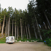mobile camping van at Karersee (Lago di Carezza), Dolomites, Italy
