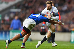 November 25, 2017 - London, England, United Kingdom - Paul Perez of Samoa puts in the tackle on England's Elliot Daly during Old Mutual Wealth Series between England against Samoa at Twickenham stadium , London on 25 Nov 2017  (Credit Image: © Kieran Galvin/NurPhoto via ZUMA Press)