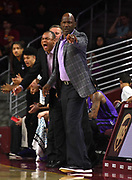Nov 8, 2019; Los Angeles, CA, USA; Portland Pilots head coach Terry Porter reacts during the game against the Southern California Trojans  at Galen Center USC defeated Portland State 76-65.