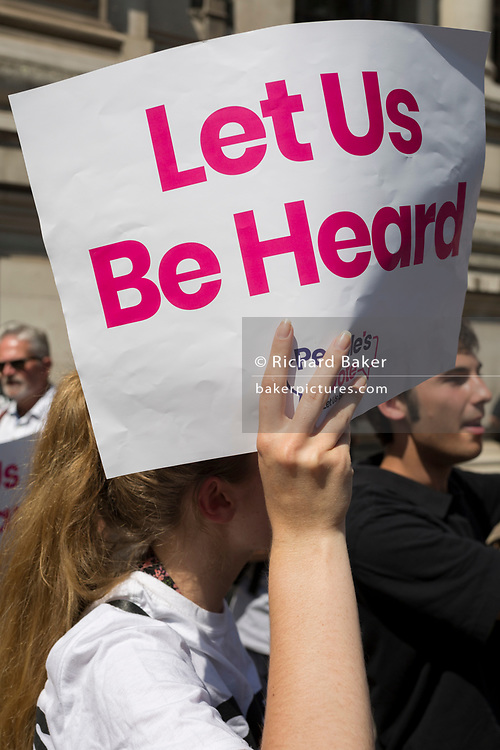 On the day that the Conservative Party elects its leader and the country's Prime Minister, Boris Johnson, protesters wanting a Peoples' vote gather outside the QE2 Centre to learn the result, on 23rd July 2019, in Westminster, London, England.