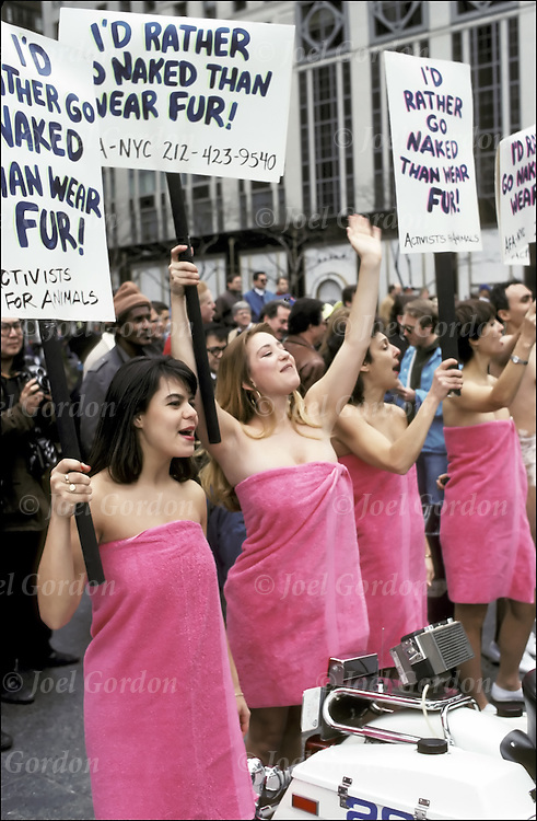 "PETA Animal Rights Activists semi-nude  protesters w/signs ""Rather Go Naked Than Wear Fur"" marching down 5th Ave - NYC"