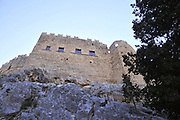 Greece, Rhodes, Lindos, Castle of the Knights of St John, built 1317 on the foundations of older Byzantine fortifications.