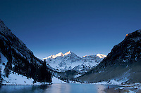 Photographer Shooting at First Light on Maroon Bells, Maroon - Snowmass Wilderness, Colorado