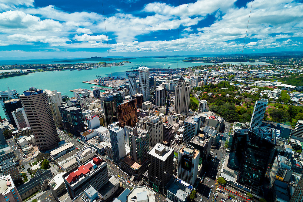 Overview of the skyline of the Central Business District (downtown) in Auckland, New Zealand seen from the Sky Tower.