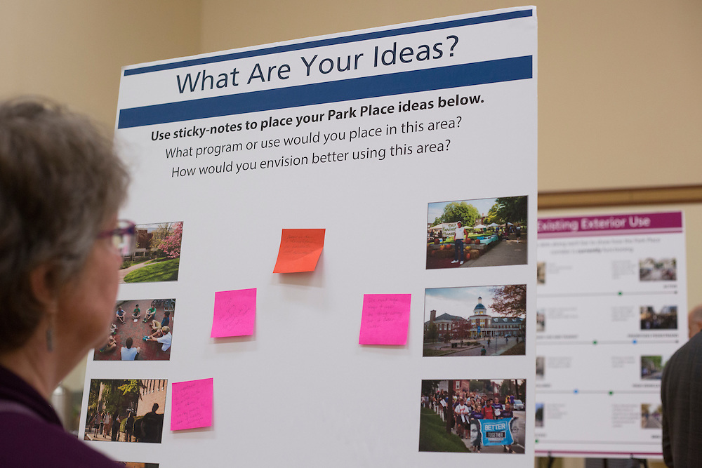 Dianne Bouvier reads ideas for the future of Park Place during the Park Place public planning workshop at the Athens Community Center on Feb. 22, 2017.