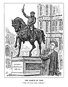 "The March of Time. ""What! Still having trouble in Palestine?"" (The statue of Richard I - Coeur de Lion, speaks to Secretary of State for the Colonies, Malcolm MacDonald infront of the Houses of Parliament)"