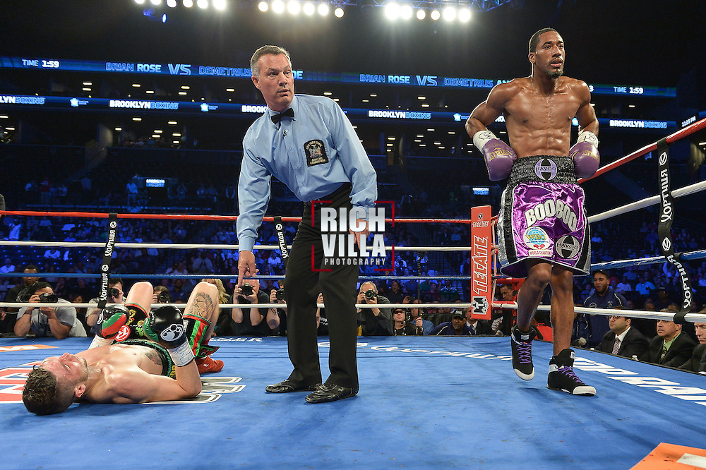 Demetrius Andrade(White/blue trunks) Retains his WBO Junior middleweight belt after defeating his mandatory number one challenger, Brian Rose(gold/black trunks Saturday night at the Barclays Center in Brooklyn, NY on June 14, 2014.