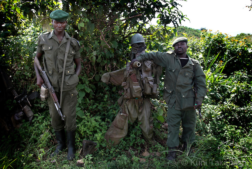 Congolese soldiers pose outskirts of Goma, DRC on April 26, 2010..The long war had involved 9 African nations and claimed an estimated three million lives as a result of fighting or disease and malnutrition..Photo by Kuni Takahashi.