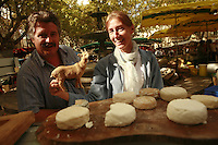 "The Saturday market in Uzès, Languedoc, France..October 6, 2007..Photo by Owen Franken for the NY Times...Assignment ID: 30049869AThe Saturday market in Uzes, Languedoc, France..""Pelardon,"" small goat cheeses..October 6, 2007..Photo by Owen Franken for the NY Times...Assignment ID: 30049869A"