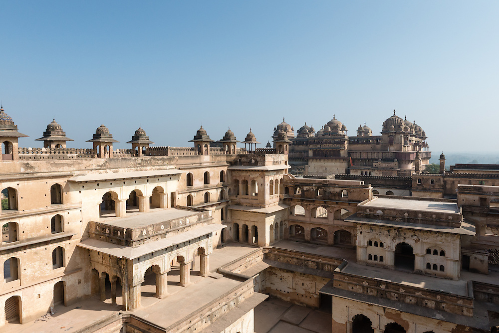 Interior facade of Jahangir Mahal, Orchha, India